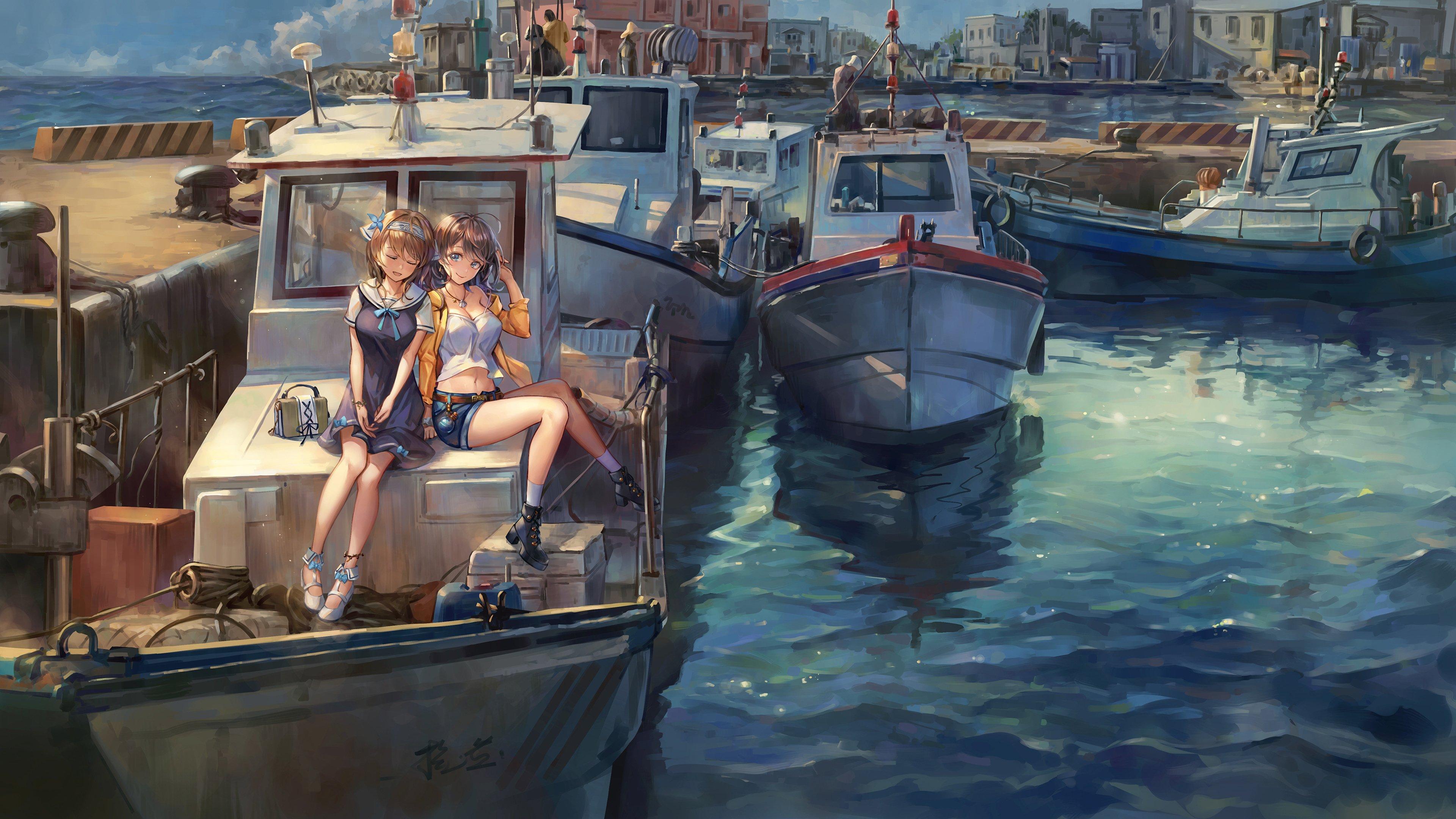 港口 坐在小船上的两个女孩高清动漫壁纸,高清电脑动漫壁纸插图