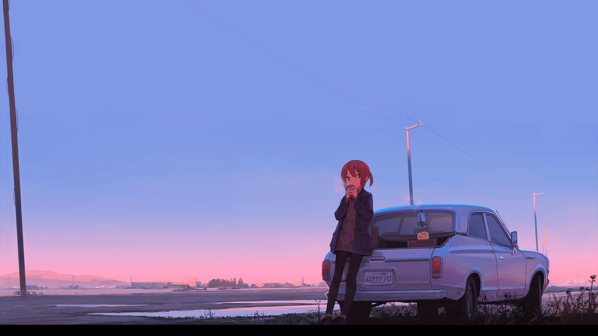 清晨 倚在汽车上喝水的少女 唯美动漫壁纸,高清电脑桌面壁纸