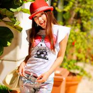 夏季飞飞袖纯棉圆领时尚卡通短袖T恤女