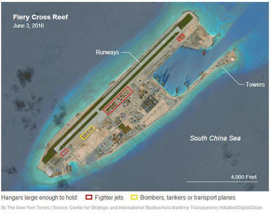 美智库:卫星图显示中国在南海岛礁建机库