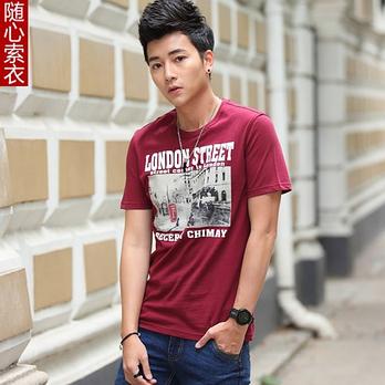 酒红色短袖t恤图片||男士酒红色t恤搭配||酒红色短袖