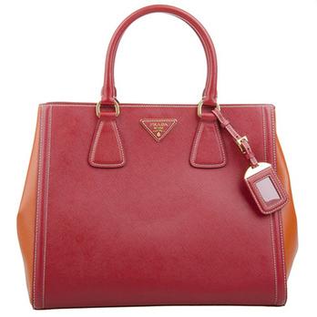 prada 普拉达 女款红色牛皮手提包