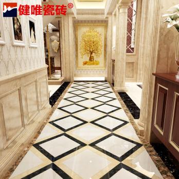 地板砖客厅微晶石瓷砖过道地砖拼花波打线