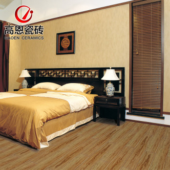 中式卧室地板砖效果图 高恩3D喷墨仿古木纹地砖 卧室仿实木地