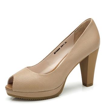 超高(CAMEL)骆驼女鞋时尚跟鱼嘴凉鞋面膜驼宾颜单鞋图片