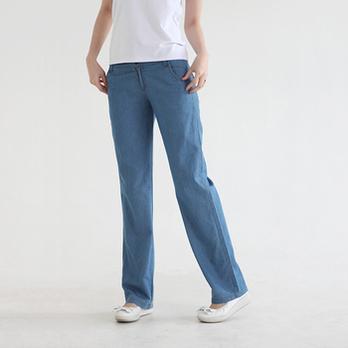 2012夏季薄款宽松版牛仔蓝休闲长裤女款