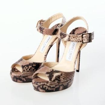 女士金属色蛇纹鱼嘴高跟凉鞋