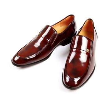 男士酒红色头层牛皮商务休闲皮鞋