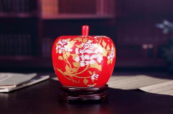 描金牡丹花中国红墙壁图纸摆件工艺品-花瓶/印花花瓶苹果图片
