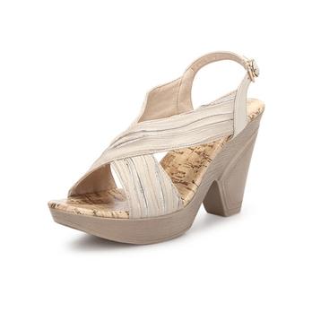 新款牛皮高跟防水台罗马女鞋