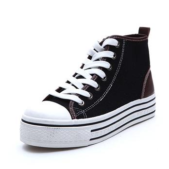 夏季新款休闲鞋布鞋女鞋帆布鞋高帮帆布鞋女内增高厚