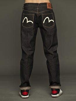 日本手绘海鸥logo牛仔裤