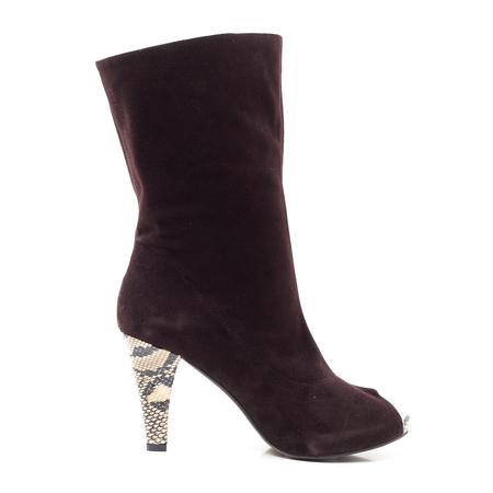 belle/百丽冬季啡色羊猄皮凉靴