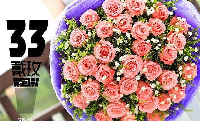 牛皮纸包的红玫瑰花束图片展示