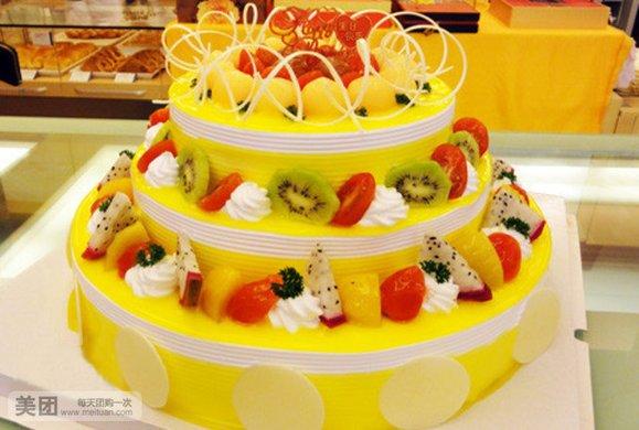 欧式3层party水果蛋糕