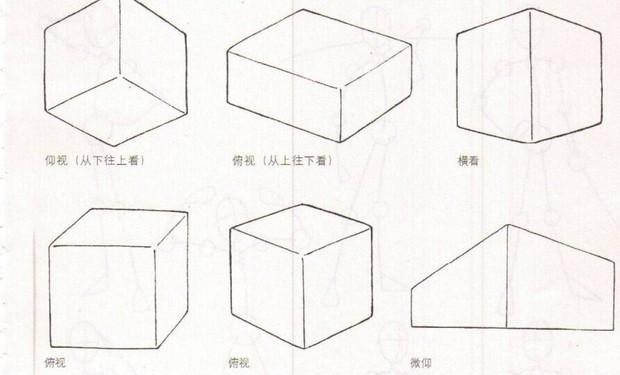 手绘立方体透视图
