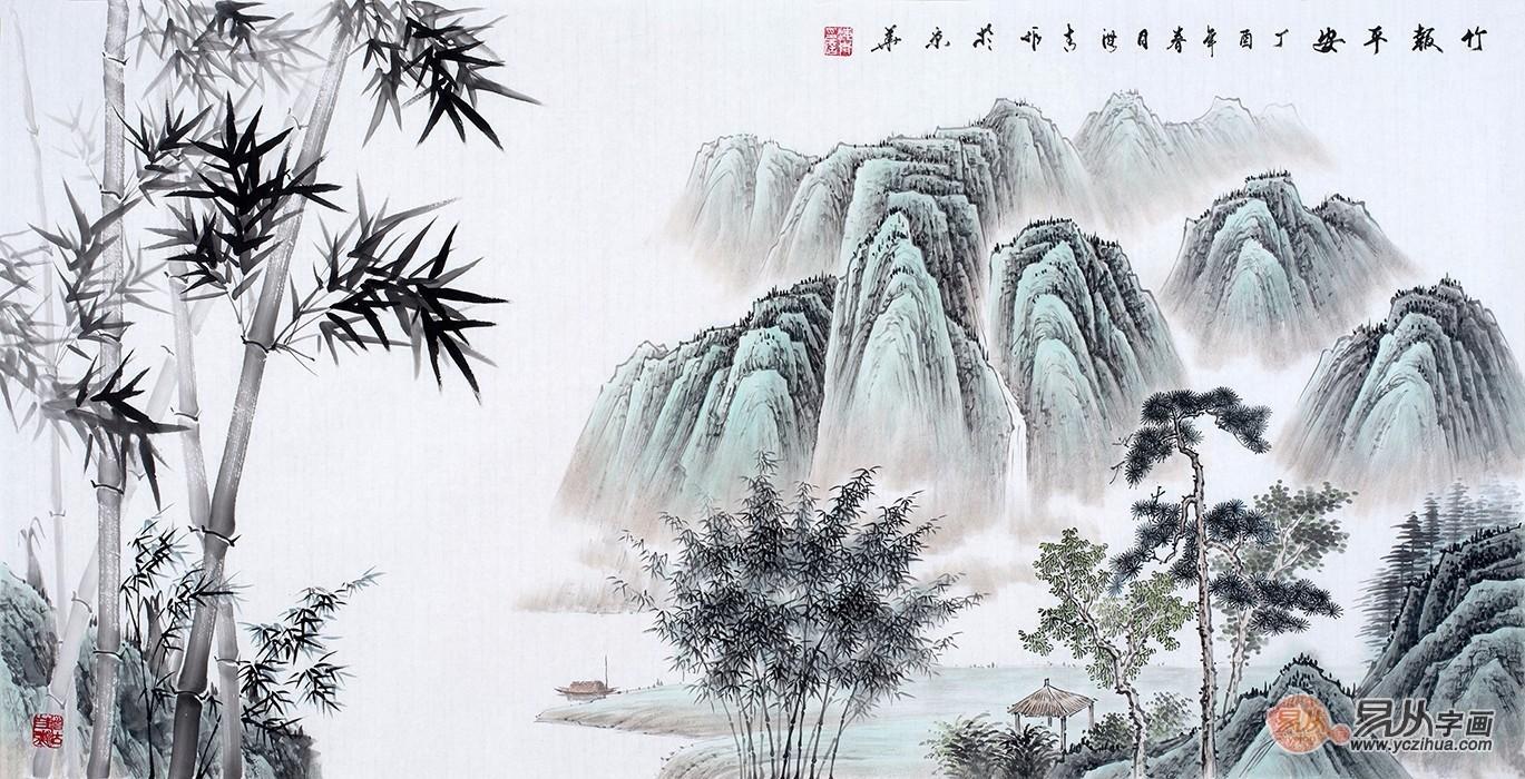 传统古画松竹山水画欣赏