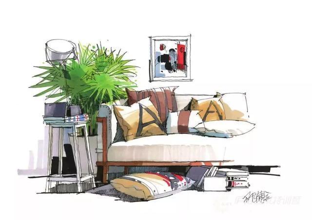 两点透视的客厅陈设组合,整幅画面用笔轻快,视觉中心突出,虚实处理得