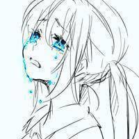 女生侧面头像动漫的 带忧郁悲伤地