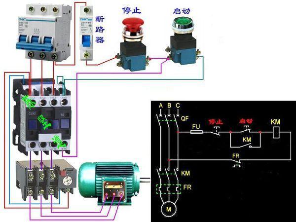 配电箱接线图三相电接按钮开关咋接_360问答