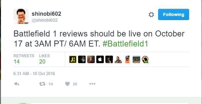 《战地1》公布首个媒体评分9分