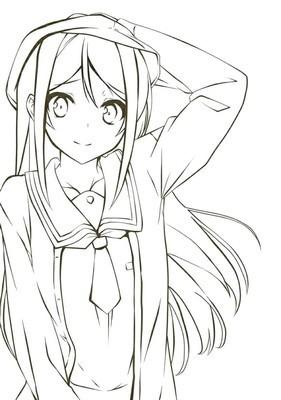 我要一些动漫长发女生的铅笔画
