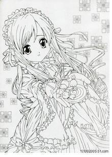 漫画美少女简笔画