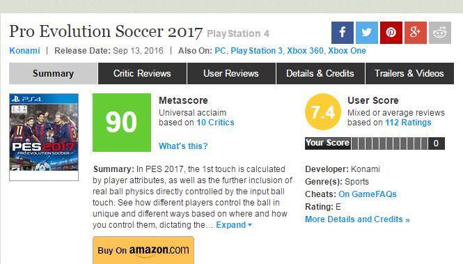 《实况足球17》媒体评分出炉