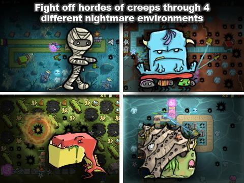 游戏玩法和保卫萝卜一样,但是摒弃了它所有可爱的萌系风格,转化为暗