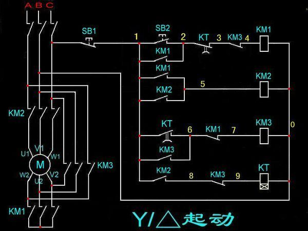 电路工作原理 答:星三角降压启动的电动机三相绕组共有六个外接端子:a