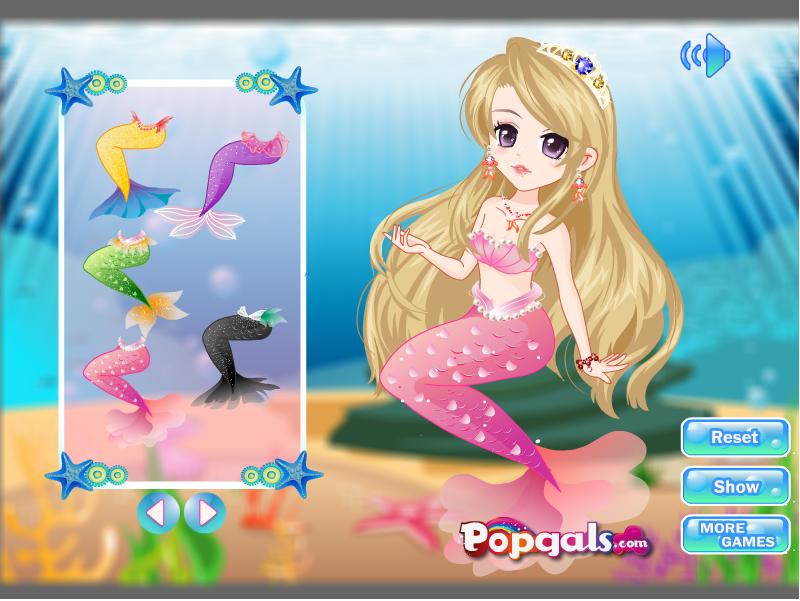 美丽的装扮游戏比其他可爱和有趣和小美人鱼的头发