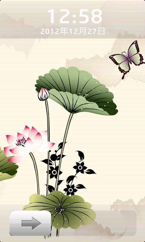 应用介绍 国画西湖荷塘风景iphone经典锁屏壁纸,壁纸水墨画中蝴蝶在