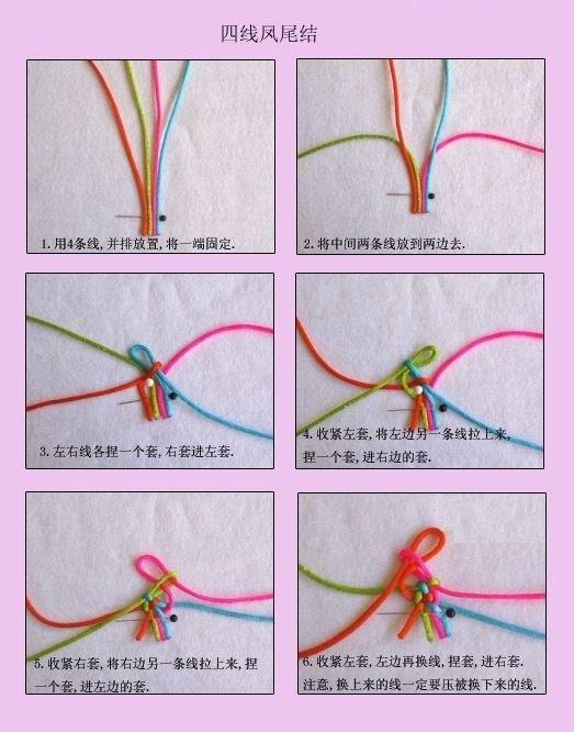 五彩绳手链编法图解