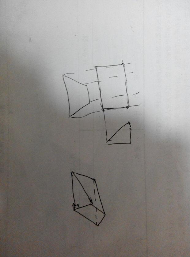 前言此题考查了几何体与三视图之间的联系材料已知的俯视图 和 左视图(侧视图)方法1已知的图像如下图所示:2对主视图的确定 (答案不唯一!)由俯视图可知,(1)主视图的底与等腰梯形的下底长度一致由侧视图可知,(2)侧视图的高与直角三角形的高长度一致考虑遮挡部分,其主视图如下图所示:(注意:主视图上的深蓝色线是俯视图中上底被遮挡的部分!)3其他的符合题意的主视图如下图所示(不唯一)