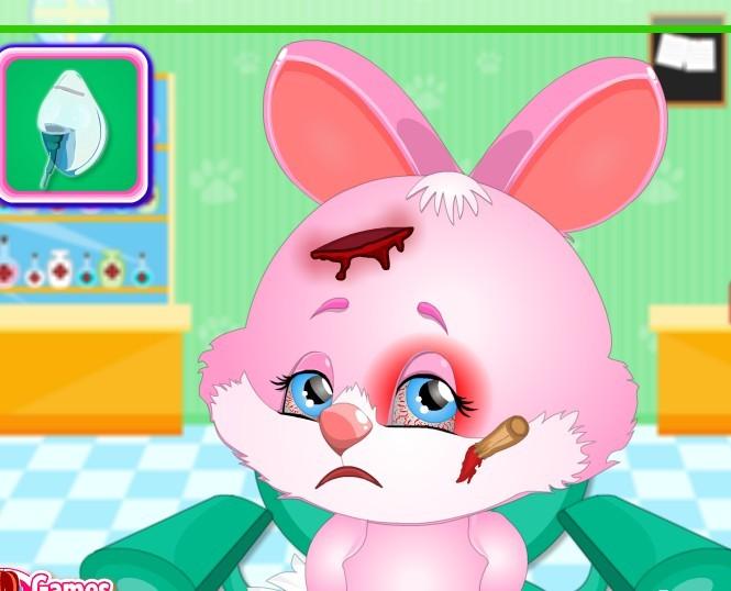 可爱的兔子脸受伤
