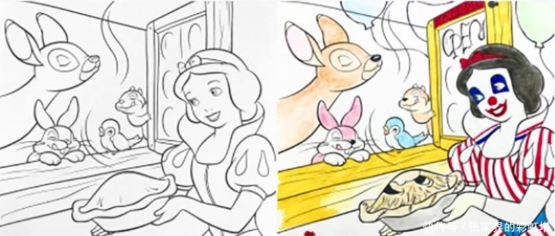 当迪士尼的漫画稿绘到了会玩的学生手上白雪公主你堕落了