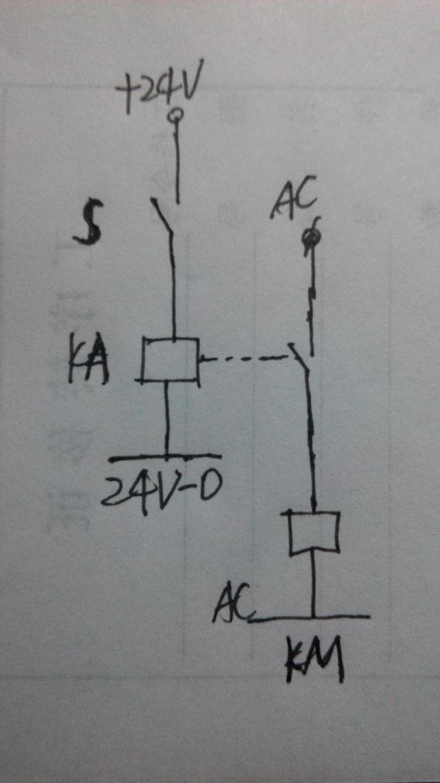 请问高手24v直流电怎么接线才能通过中间继电器去