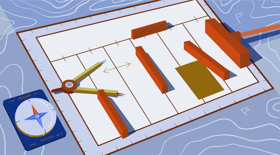 工具放在上面的纸质网格