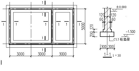 室外地面标高-0.30m.(15分)