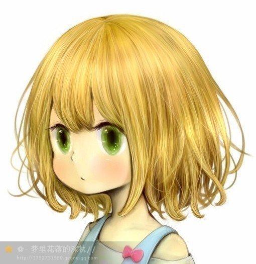 一个金黄色蓬蓬头发的带着耳机 绿色眼睛的动漫小女生