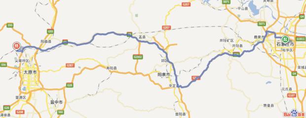 这张图是从石家庄走高速到太原上兰村的路线图  供参考