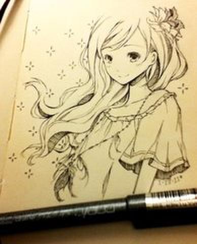 求铅笔画动漫图或者比较简单的临摹图 女生图片