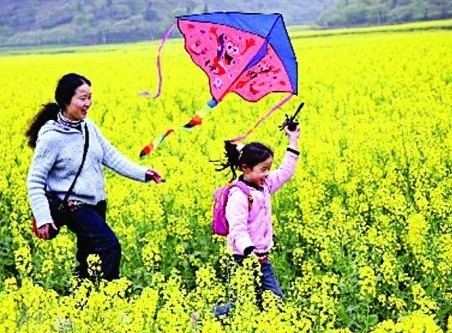 小孩子放风筝的图片(真实的)