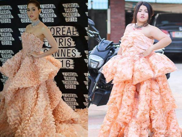 """女子用""""大虾""""恶搞 完美复制女星红毯礼服 -  - 真光 的博客"""