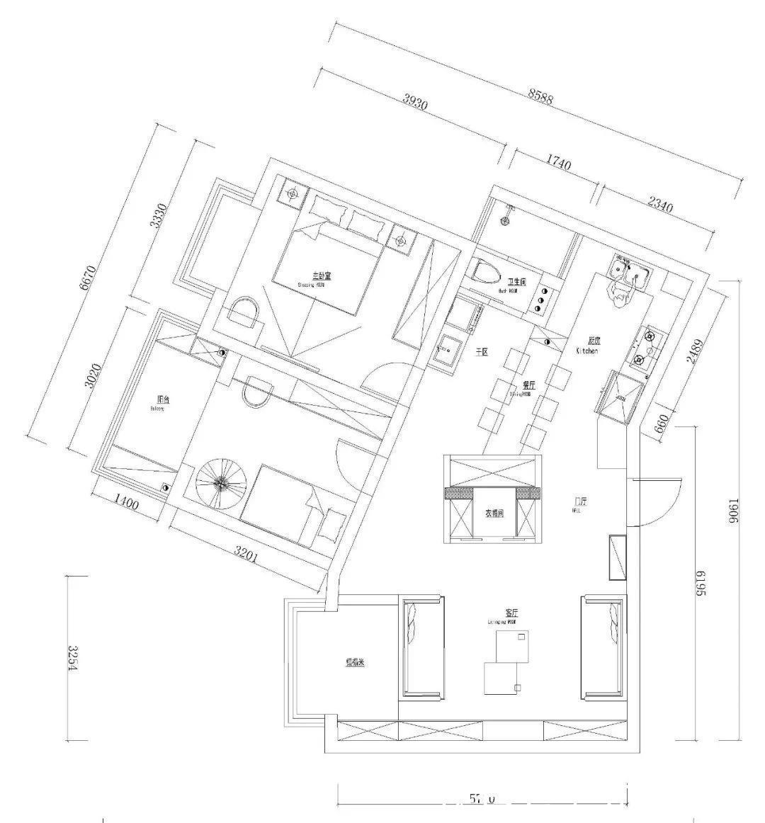 80平小户型现代轻奢风,不规则房屋也令人a户型柏丽澜庭户型设计图图片