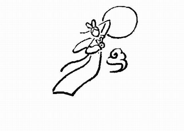 嫦娥奔月简笔画怎样画