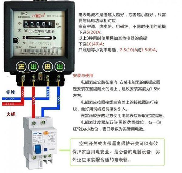 dds334型 单相电子式电能表的接线图