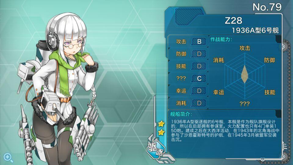 战舰少女R驱逐舰Z28怎么样