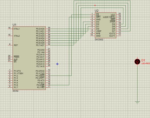 在proteus8中用dac0832模拟灯亮暗调节,da输出接口怎么找?