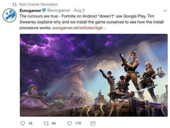 费用太高 《堡垒之夜》手游拒绝上架GooglePlay